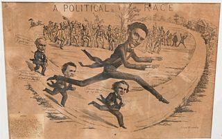 """Large Framed Political Cartoon """"A Political Race"""" showing Abraham Lincoln beating John Bell, John Breckinridge and Stephen Douglas in a foot race publ"""