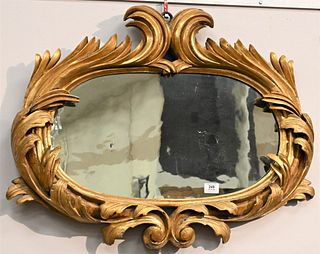 """Italian Giltwood """"Bull Rush"""" Mirror having carved giltwood frame with hand wrought iron strapping on back 18th century or later 24 x 32 inches Purchas"""