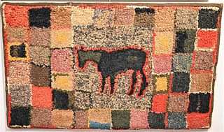 Folk Art Pictorial Hooked Rug  having the silhouette of a horse at center 24 x 39 inches