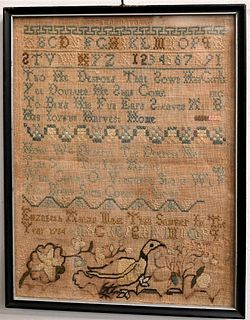 18th Century Schoolgirl Sampler  having a poem, alphabet, and numbers, along with a duck embroidered along the lower edge dated 1764 sight size 10 1/2