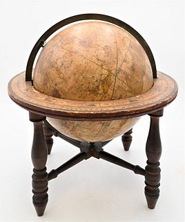 Josiah Loring Celestial Table Globe on cherry base some damage, chip and slight crack height 18 inches, width 17 inches