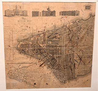"""Rare David Longworth New York City Map 1817 """"This actual map and comparative plans showing 88 years growth of the city at New York is inscribed to the"""