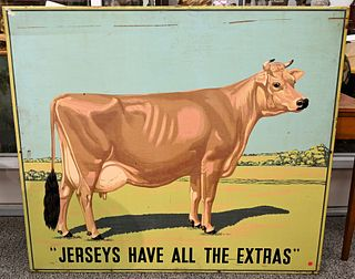 """American Silk Screened Metal Dairy Cow Advertising Sign """"Jerseys Have all the Extras"""" circa 1925 height 42 inches, width 4 feet"""