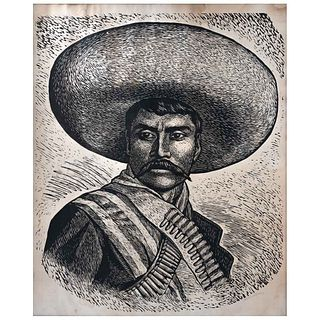 LEOPOLDO MÉNDEZ, Emiliano Zapata, Firmada, Xilografía sin número de tiraje, 85 x 70 cm | LEOPOLDO MÉNDEZ, Emiliano Zapata, Signed, Woodcut without pri