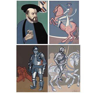 ARNOLD BELKIN, Varios títulos, de la serie Conquistadores, Firmadas, Serigrafías A.P., 56 x 38 cm c/u, piezas: 4 | ARNOLD BELKIN, Various titles, from
