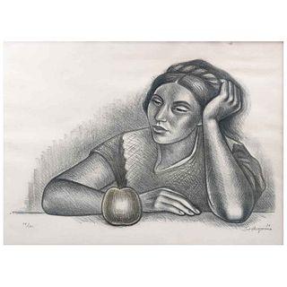 RAÚL ANGUIANO, Mujer con manzana, Firmada y fechada 76, Litografía 39 / 180, 47 x 69 cm | RAÚL ANGUIANO, Mujer con manzana, Signed and dated 76, Litho