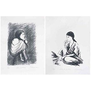 ERIC SCHWARZ, a) Niña de Yalalag, b) Niña Zapoteca, Firmadas, Serigrafías 39/125 y 69/125, 60 x 65 cm c/u, piezas: 2 | ERIC SCHWARZ, a) Niña de Yalala