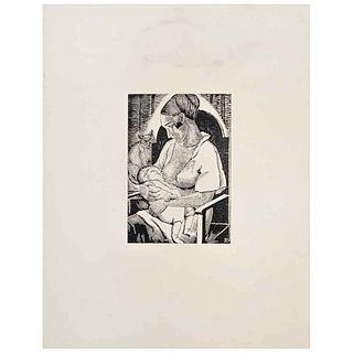 ANGELINA BELOFF, Maternidad, Firmada en placa, Xilografía sin número de tiraje, 15 x 10 cm | ANGELINA BELOFF, Maternidad, Signed on plate, Woodcut wit