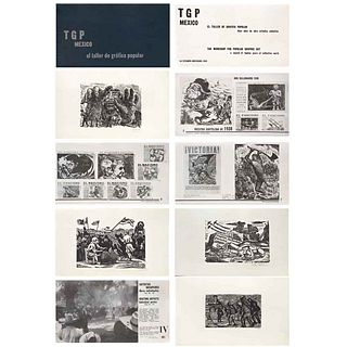 VARIOS ARTISTAS, El TGP, Doce Años de Obra Artística Colectiva, 1949. Firmadas, Xilografías s/n, 19 x 33 x 2 cm, piezas: 4 | VARIOUS ARTISTS, El TGP,
