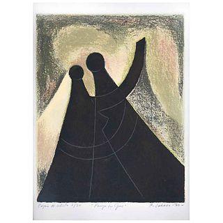 CARLOS JURADO, Pareja en gris, Firmada y fechada 70, Serigrafía copia del artista 7/30, 48 x 32.5 cm | CARLOS JURADO, Pareja en gris, Signed and dated