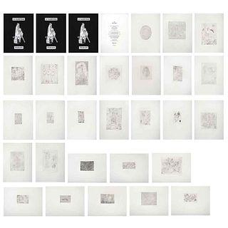 ALAN GLASS, Le Maréchal, 2016, Firmados Grabados a la punta seca P. I., 33 x 25 cm medidas del papel de c/u,  piezas: 27 | ALAN GLASS, Le Maréchal, 20