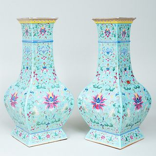 Pair of Chinese Famille Rose Turquoise Ground Porcelain Faceted Vases