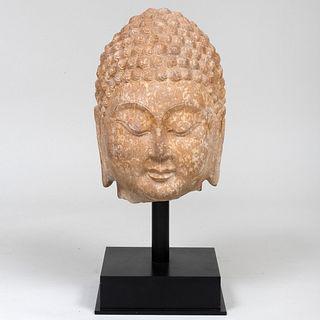 Large Chinese Carved Stone Buddha Head