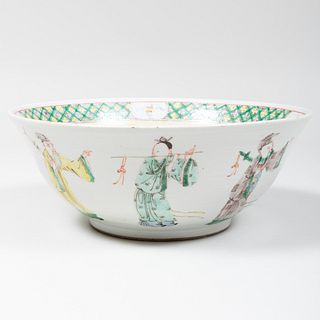 Chinese Famille Verte Porcelain Punch Bowl