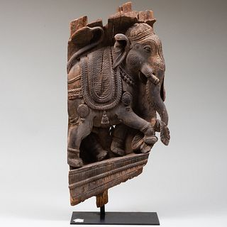 South Indian Wood Panel Fragment Carved with Elephant