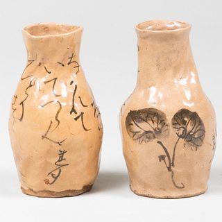 Pair of Otagaki Rengetsu Pottery Tokkuri Sake Jars