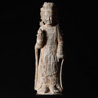Large Chinese Limestone Figure of a Bodhisattva