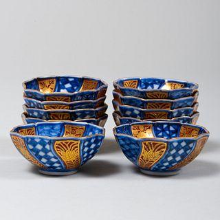 Set of Ten Japanese Blue and Red Porcelain Sake Cups
