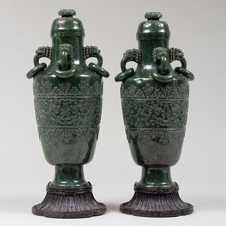 Pair of Chinese Spinach Jade Vases and Covers
