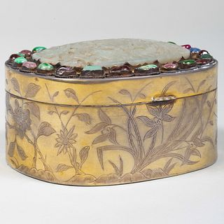Chinese Jade Mounted Gilt-Metal Box Set with Semiprecious Stones Around Rim