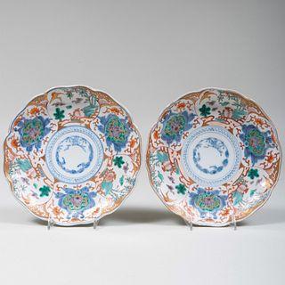 Pair of Chinese Orange and Blue Ground Scalloped Edge Plates