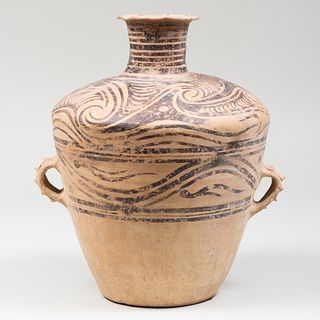 Chinese Painted Pottery Urn with Lug Handles