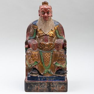 Chinese Carved and Polychromed Figure of a Seated Official
