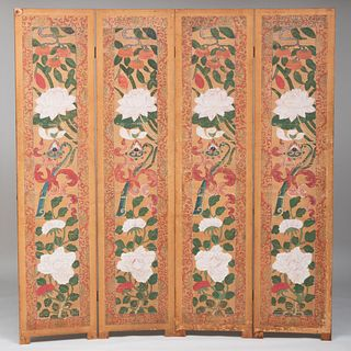 Chinese Wallpaper Mounted as a Four Panel Screen