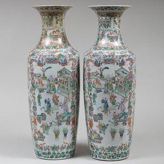 Pair of Large Chinese Famille Verte Porcelain Vases