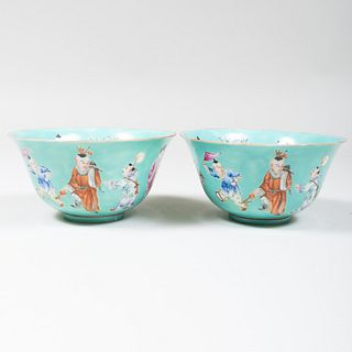 Pair of Chinese Turquoise Glazed Porcelain Bowls Decorated with Figures