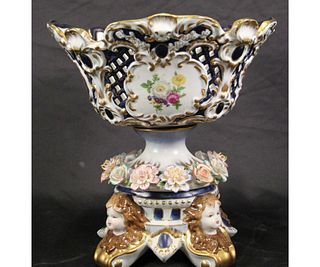 ROCOCO STYLE FOOED PORCELAIN BOWL