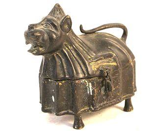 ANTIQUE INDIAN DOG BRASS JEWELRY BOX