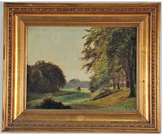 CHARLES ZACO LANDSCAPE OIL ON CANVAS PAINTING
