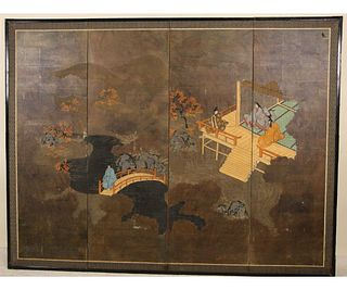 19th CENTURY JAPANESE GARDEN SCENE SCREEN