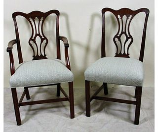 LOT OF EIGHT VINTAGE CHIPPENDALE STYLE CHAIRS