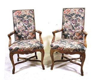 PAIR OF FRENCH TASTE BAKER ARMCHAIRS