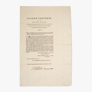 [Hamilton, Alexander] Jefferson, Thomas An Act for extending the time for receiving on Loan that part of the Domestic Debt of the United States, which