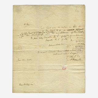 [Hamilton, Alexander] [First Bank of the United States] Autograph Letter, signed