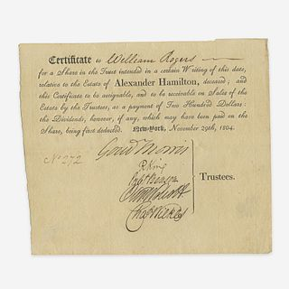 [Hamilton, Alexander] [Morris, Gouverneur, and Rufus King and Oliver Wolcott, Jr., et al.] Partially-Printed Share in Alexander Hamilton's Estate