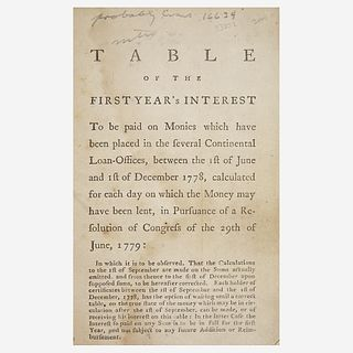 [Hamilton, Alexander] [American Revolution] Table of the First Year's Interest To be paid on Monies which have been placed in the several Continental
