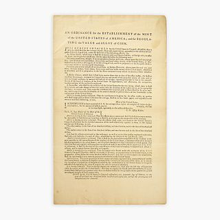 [Hamilton, Alexander] [United States Mint] An Ordinance for the Establishment of the Mint of the United States of America; and for Regulating the Valu