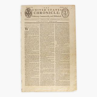[Hamilton, Alexander] [Constitution] The United States Chronicle: Political, Commercial, and Historical