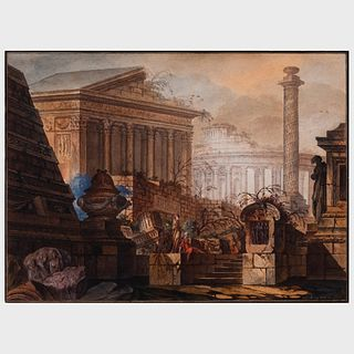 Jean-Laurent Legeay (1710-1786): Fantasy with Roman Ruins