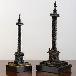 Two Italian Bronze Vendôme Columns