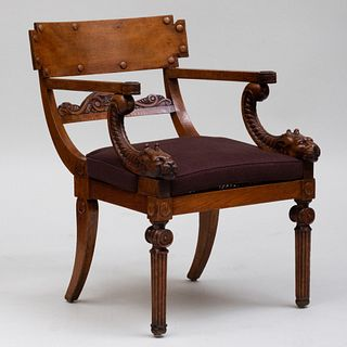 Regency Carved Oak and Caned Armchair in the Manner of Thomas Hope