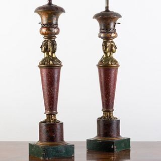 Pair of French Tôle and Metal Faux Porphyry Lamps, in the Egyptian Taste