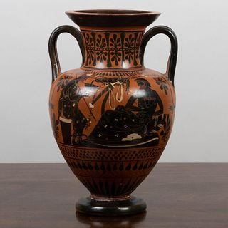 Greek Black-Figure Pottery Amphora Decorated with Hermes and Herakles