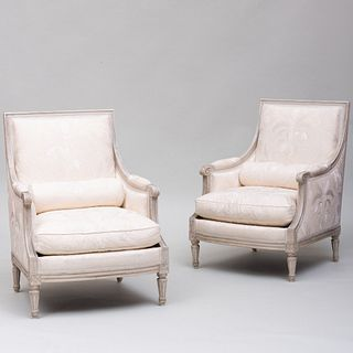 Pair of Louis XVI Style Grey Painted Bergères