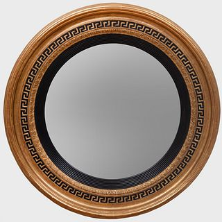Regency Style Ebonized and Parcel-Gilt Circular Mirror, of Recent Manufacture