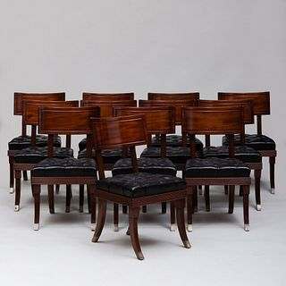 Set of Twelve Regency Style Carved Mahogany Dining Chairs, of Recent Manufacture